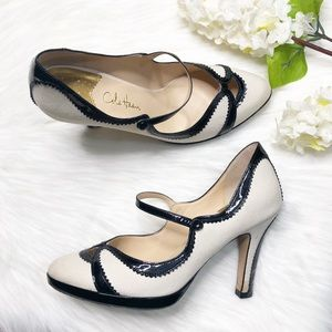 COLE HAAN White Canvas Black Patent Leather Heels